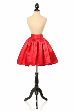Red Satin Short Skirt