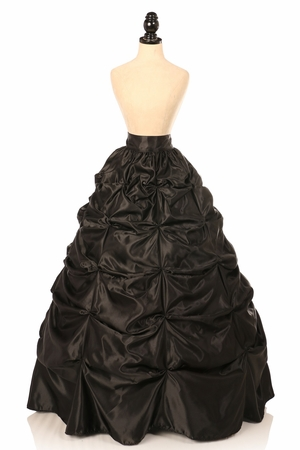 Black Satin Pick-Up Long Skirt
