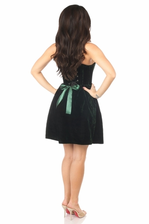 Top Drawer Steel Boned Green Velvet Empire Waist Corset Dress - IN STOCK