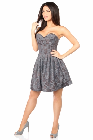 Top Drawer Steel Boned Gunmetal Lace Empire Waist Corset Dress