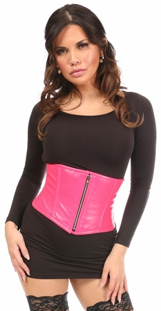 Top Drawer Hot Pink Faux Leather Steel Boned Mini Cincher