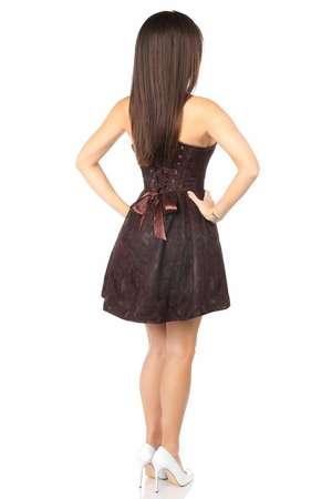 Top Drawer Steel Boned Brown Lace Empire Waist Corset Dress