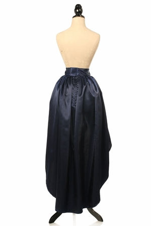 Navy Blue Satin High Low Skirt