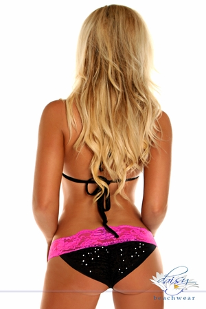 Black Sequin Pucker Back Bikini w/Fuchsia Lace