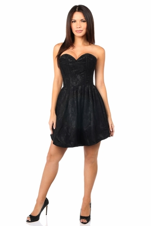 Top Drawer Steel Boned Black Lace Empire Waist Corset Dress - IN STOCK