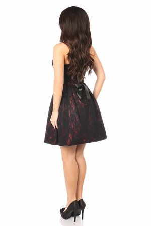 Top Drawer Wine Steel Boned Lace Corset Dress