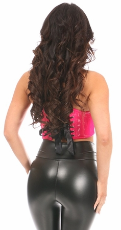 Lavish Hot Pink Patent Lace-Up Short Bustier Top - IN STOCK