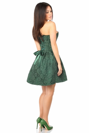 Top Drawer Steel Boned Dark Green Lace Empire Waist Corset Dress