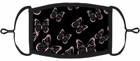 Pink Butterflies Fabric Face Mask