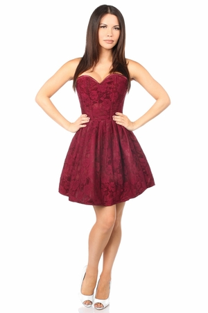 Top Drawer Steel Boned Wine Lace Empire Waist Corset Dress - IN STOCK