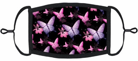 Pink & Purple Butterflies Fabric Face Mask