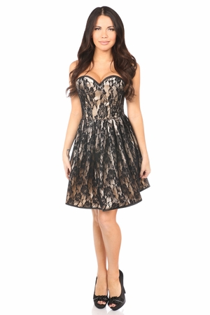 Top Drawer Tan Steel Boned Lace Corset Dress