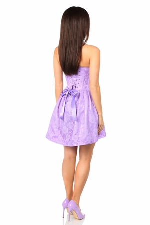 Top Drawer Steel Boned Lilac Lace Empire Waist Corset Dress - IN STOCK