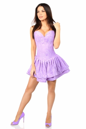 Top Drawer Lilac Lace Steel Boned Ruffle Corset Dress - IN STOCK
