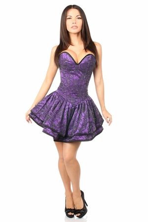 Top Drawer Purple Glitter Embroidered Net Overlay Steel Boned Corset Dress