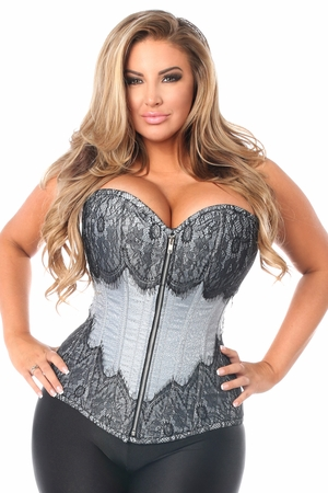 Top Drawer Lt Blue Brocade Steel Boned Corset w/Black Eyelash Lace - IN STOCK