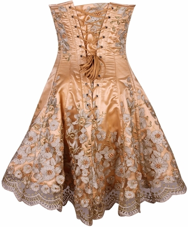 Top Drawer Elegant Gold Floral Embroidered Steel Boned Corset Dress