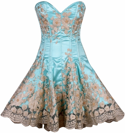Top Drawer Elegant Aqua Floral Embroidered Steel Boned Corset Dress