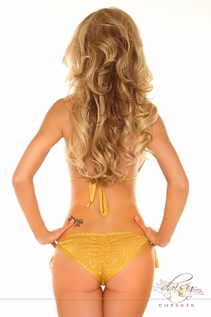 Bronze Foil Dot Pucker Back Bikini