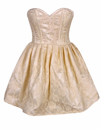 Top Drawer Steel Boned Ivory Lace Empire Waist Corset Dress