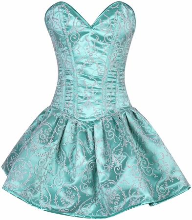 Top Drawer Regal Mint Green Glitter Embroidered Net Overlay Steel Boned Corset Dress
