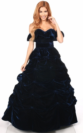 3 PC Navy Blue Velvet Corset Dress