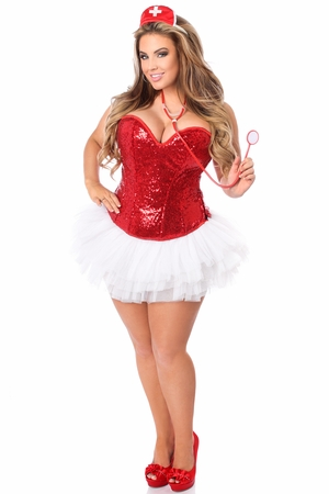 Top Drawer 4 PC Sequin Nurse Corset Costume