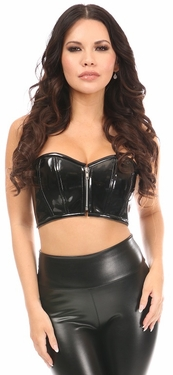 Lavish Black Patent Short Bustier Top - IN STOCK