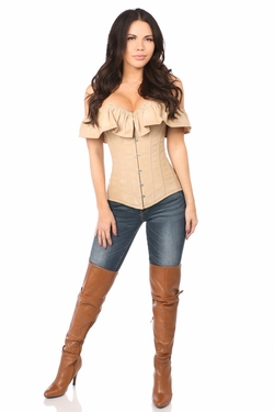 Lavish Tan Cotton Off-The-Shoulder Corset