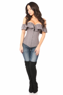Lavish Grey Cotton Off-The-Shoulder Corset