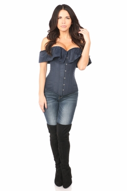 Lavish Navy Blue Cotton Off-The-Shoulder Corset