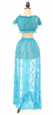 Sheer Teal Lace Skirt