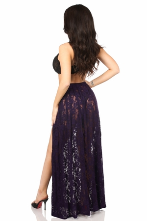 Sheer Plum Lace Skirt - IN STOCK