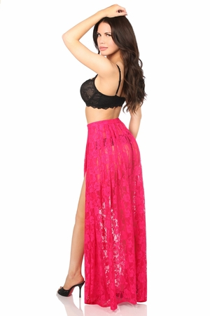 Sheer Fuchsia Lace Skirt - IN STOCK