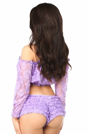 Lilac Lined Lace Long Sleeve Peasant Top - IN STOCK