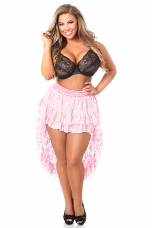 Baby Pink Lace High Low Skirt - IN STOCK