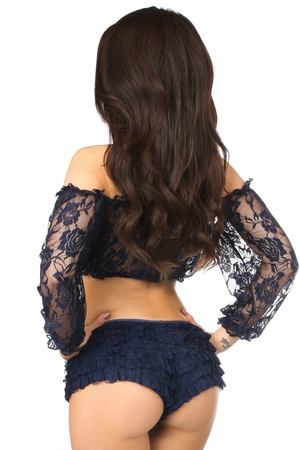 Navy Blue Sheer Lace Long Sleeve Peasant Top - IN STOCK