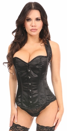 Lavish Black Satin Full Back Sweetheart Corset - IN STOCK