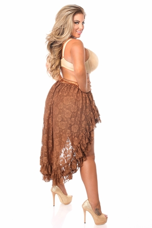 Brown Lace High Low Skirt - IN STOCK