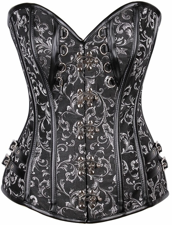 Top Drawer Brocade & Faux Leather Steel Boned Corset