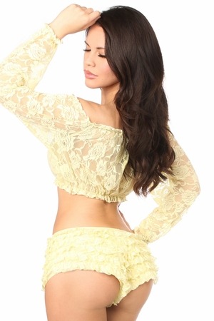 Yellow Sheer Lace Long Sleeve Peasant Top - IN STOCK