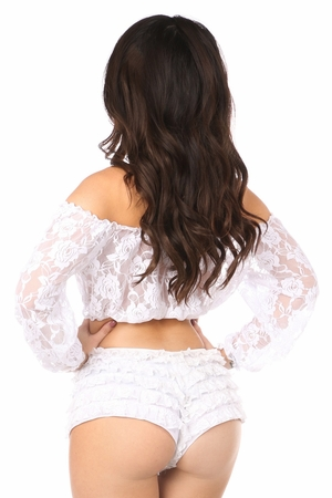 White Sheer Lace Long Sleeve Peasant Top - IN STOCK