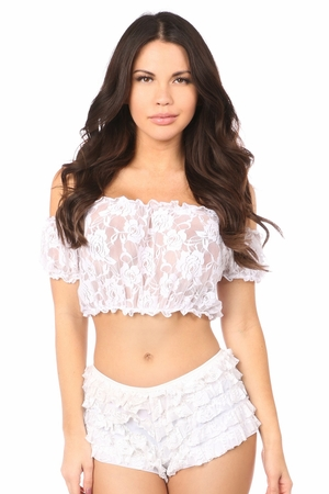 White Sheer Lace Short Sleeve Peasant Top - IN STOCK
