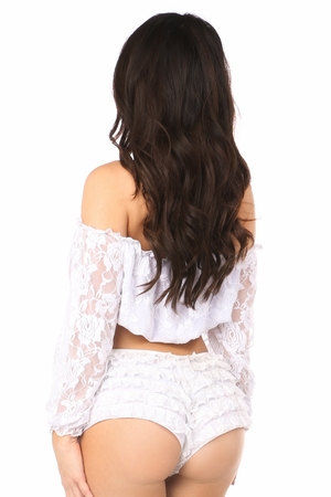 White Lined Lace Long Sleeve Peasant Top - IN STOCK