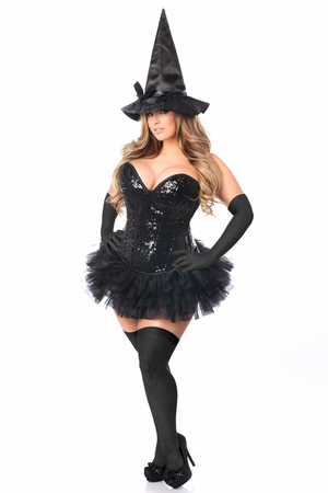 Top Drawer 4 PC Sexy Witch Corset Costume - IN STOCK