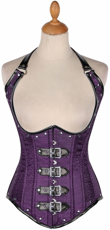 Top Drawer Brocade & Faux Leather Steel Boned Under Bust Corset