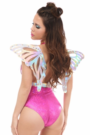Silver Holo Body Harness w/Wings - IN STOCK