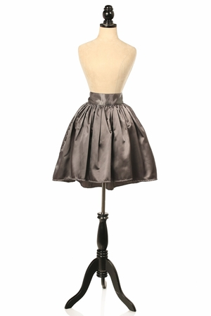 Gunmetal Satin Short Skirt