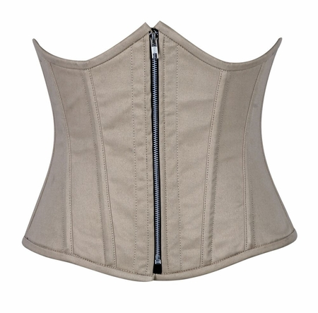 Top Drawer Beige Cotton Steel Boned Underbust Corset w/Zipper - IN STOCK