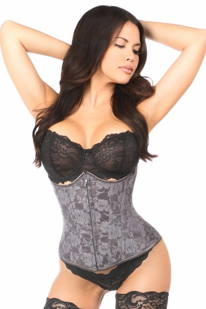 Lavish Dark Grey Lace Underbust Corset